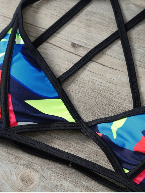 ladies Printed Criss-Cross Swimsuit - COLORMIX S Mobile
