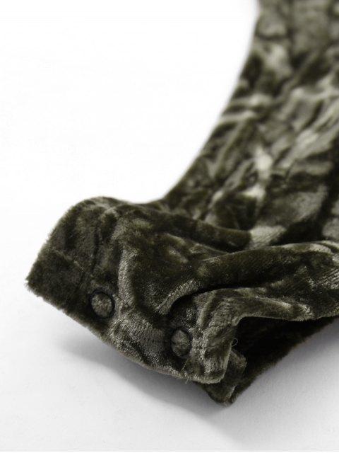 womens Lace Up Velvet Bodysuit - ARMY GREEN M Mobile