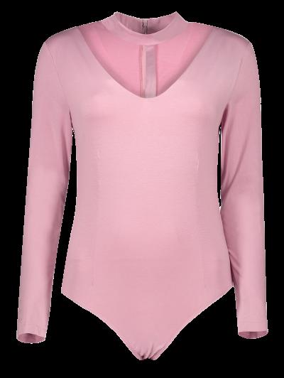 Cut Out Long Sleeve Choker Bodysuit - PINK L Mobile