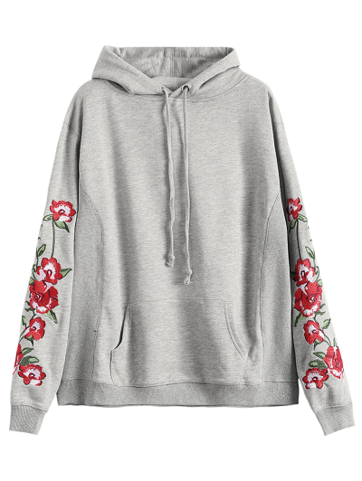 Front Pocket Floral Embroidered Hoodie - GRAY M Mobile
