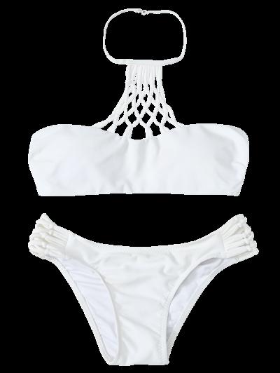 Openwork Halter Cut Out Bikini Set - WHITE M Mobile