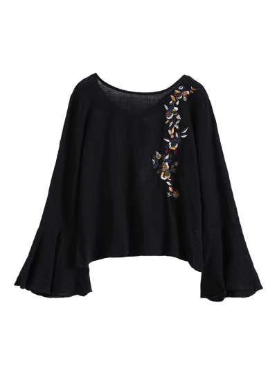 Bell Sleeve Floral Embroidered Blouse - BLACK L Mobile