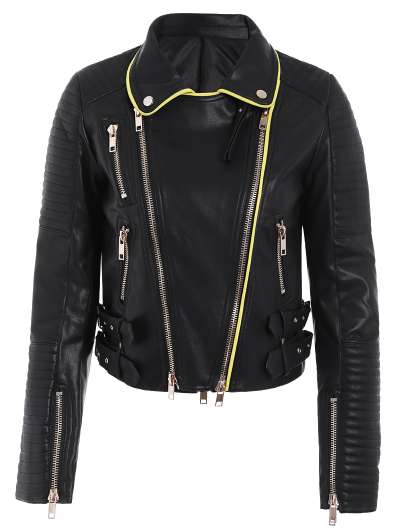 Zip and Buckle Design Faux Leather Jacket - BLACK L Mobile