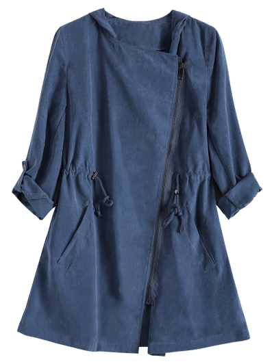 Solid Color Hooded Drawstring Inclined Zipper Coat - BLUE M Mobile