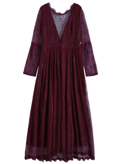 Floral Lace Evening Dress - WINE RED 2XL Mobile