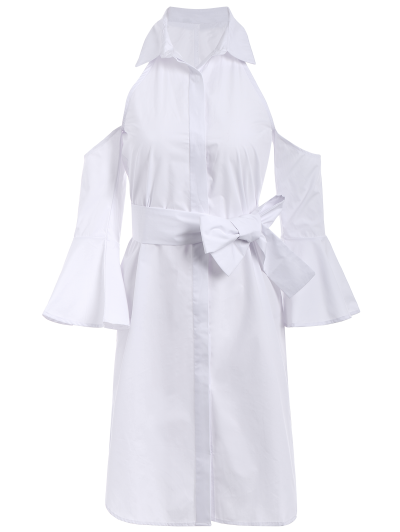 Cold Shoulder Flared Cuffs Shirt Dress - WHITE L Mobile