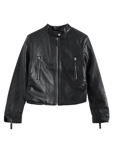 Dragon Embroidered Stand Collar Faux Leather Jacket - BLACK L Mobile