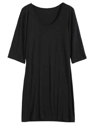 Scoop Neck 3/4 Sleeve Bodycon Dress - BLACK XL Mobile