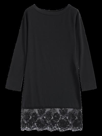 Lace Spliced Slash Neck Dress - BLACK S Mobile