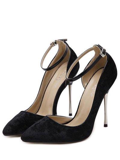 Velvet Pointed Toe Ankle Strap Pumps - BLACK 40 Mobile