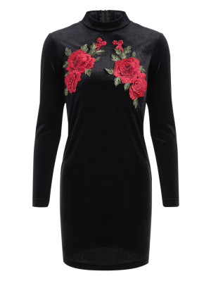 Long Sleeve Floral Embroidered Bodycon Dress - Black