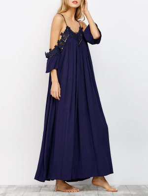 Cold Shoulder Flowing Maxi Dress - Navy