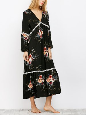 Crochet Trim Maxi Dress - Black