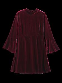 Cut Out Bell Sleeve Velvet Dress