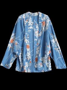 Abrir Frente De La Impresión Floral Del Kimono De La Blusa - Azul
