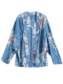 Open Front Floral Print Kimono Blouse - Blue