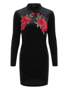 Long Sleeve Floral Embroidered Bodycon Dress