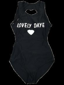 Open Back Lovely Daye Heart Swimsuit - BLACK L