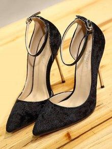 Velvet Pointed Toe Ankle Strap Pumps - BLACK 38