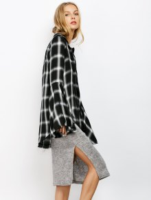 Plaid Bell Sleeve Shirt - WHITE/BLACK L