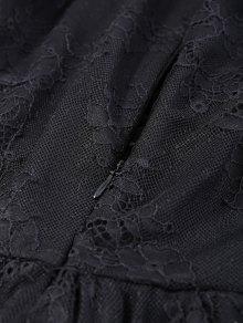 See Thru Plunging Neck Lace Maxi Dress - BLACK M