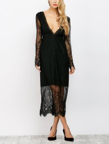 See Thru Low Cut Lace Maxi Dress