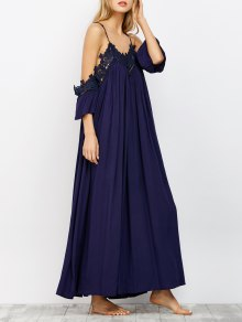 Cold Shoulder Flowing Maxi Dress - Navy L