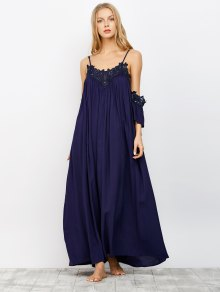 Cold Shoulder Flowing Maxi Dress NAVY: Maxi Dresses M | ZAFUL