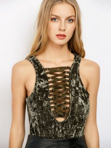 Lace Up Velvet Bodysuit - Army Green M