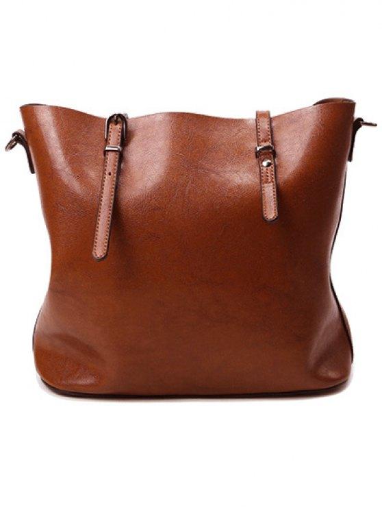 Buckles PU Leather Metal Shoulder Bag - BROWN  Mobile
