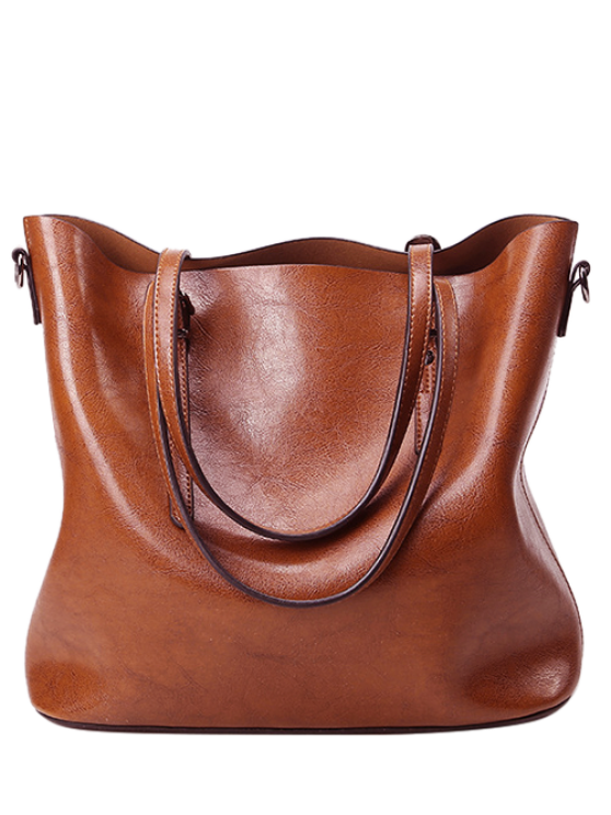 outfit Buckles PU Leather Metal Shoulder Bag - BROWN