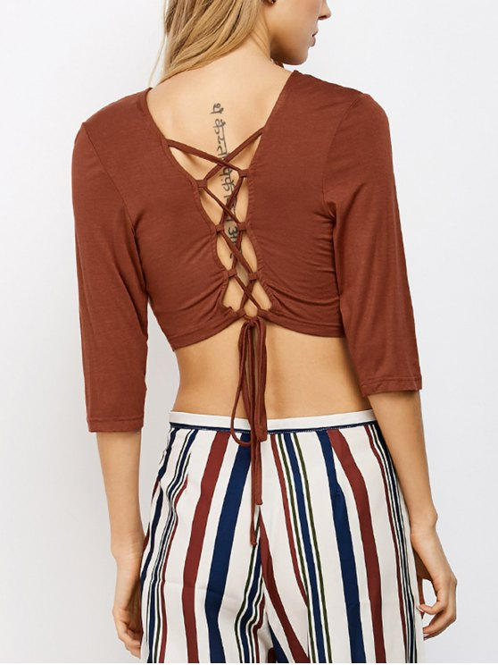outfit Lace Up Back Criss Cross Crop Top - BROWN #26 XL
