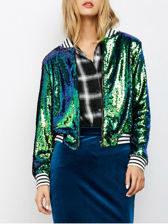 lady Sparkly Sequins Bomber Jacket - GREEN XL