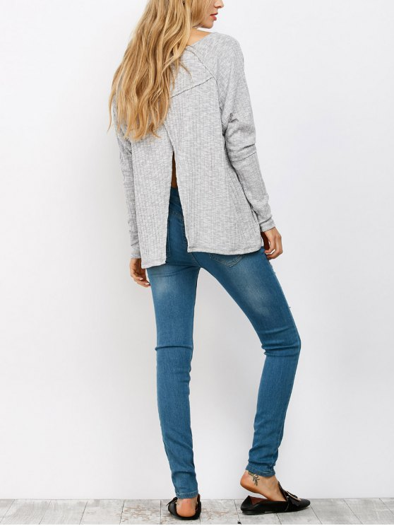 online Slit V Neck Ribbed Knitwear - LIGHT GRAY L