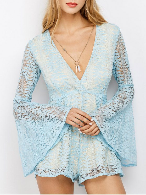unique Lace Plunging Neck Flare Sleeve Romper - LIGHT BLUE S