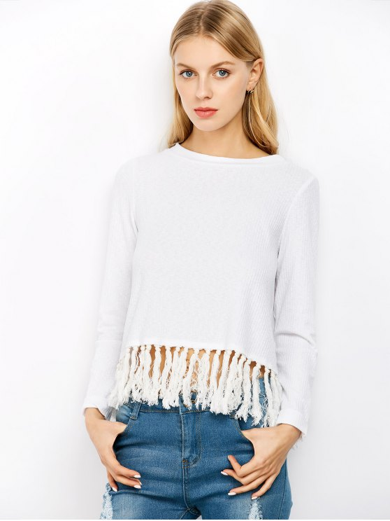 outfit Slit Tassel Ribbed Knitwear - OFF-WHITE 2XL