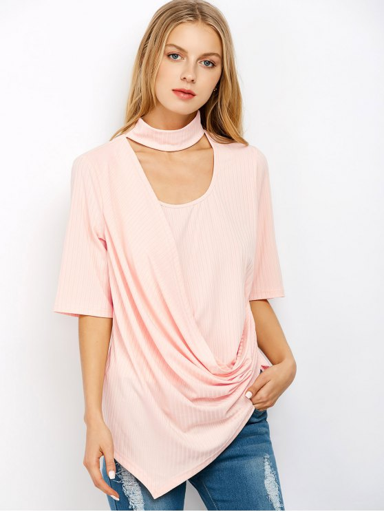 sale Asymmetric Draped Choker T-Shirt - LIGHT PINK 2XL
