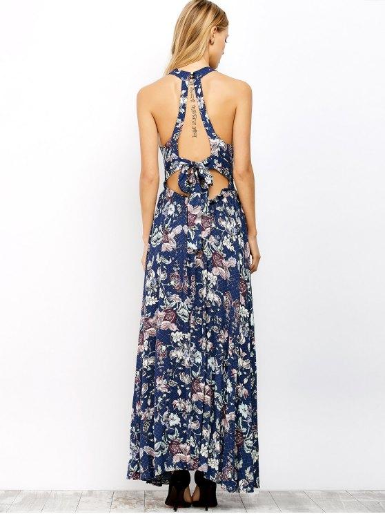 Floral Print Maxi Flowing Dress - BLUE S Mobile