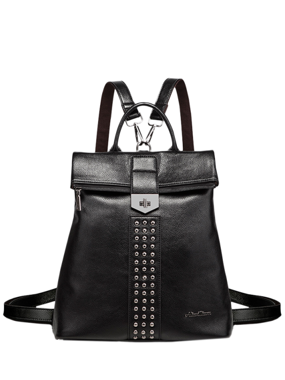 sale Rivets Faux Leather Backpack - BLACK