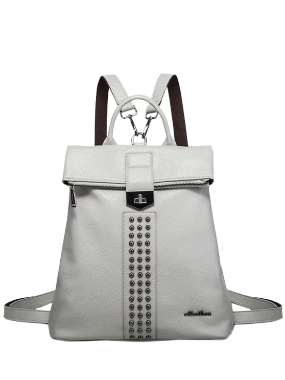 affordable Rivets Faux Leather Backpack - GRAY