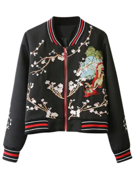 new Flower Embroidery Bomber Jacket - BLACK L