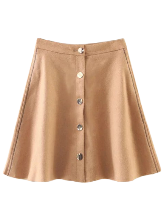 Wool Blend Flounce Mini Skirt - KHAKI S Mobile
