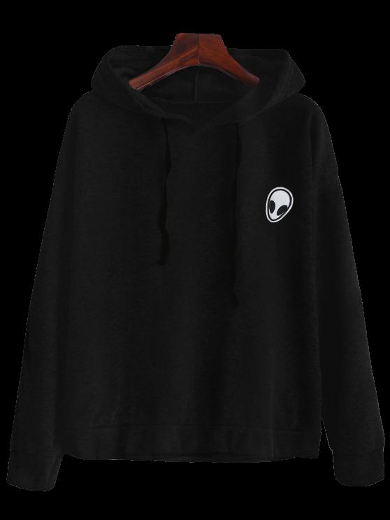 Drawstring Alien Patch Hoodie - BLACK M Mobile