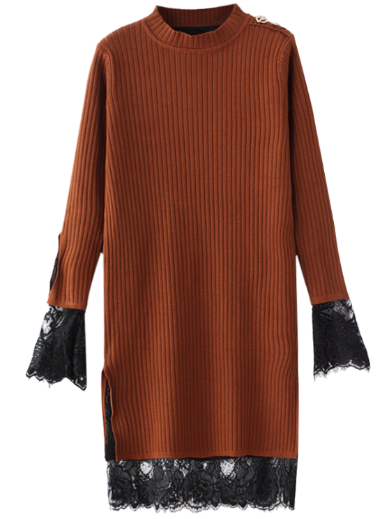 online Lace Panel Cut Out Knitting Dress - GINGER ONE SIZE