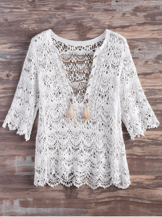 ladies Crochet Lace Up Feather Cover Up - WHITE M