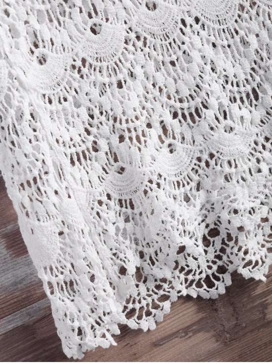 Crochet Lace Up Feather Cover Up - WHITE M Mobile