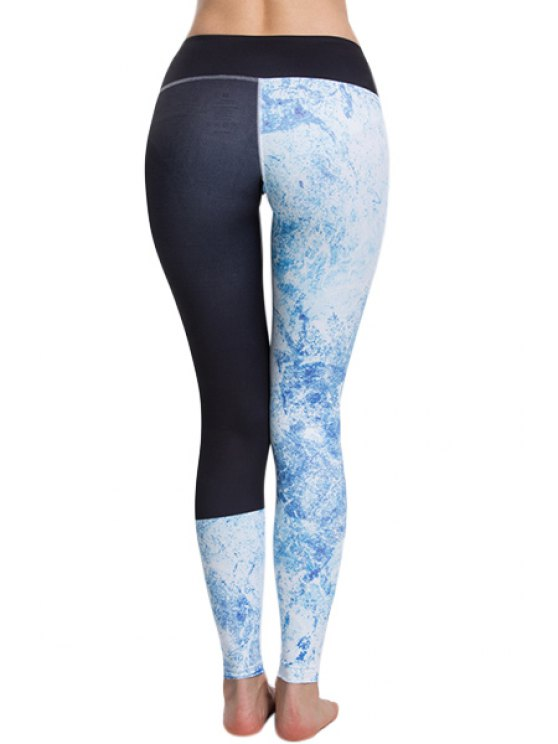 Panelled Curve Sports Leggings - BLUE AND BLACK L Mobile