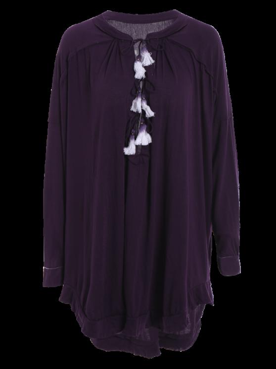 Deep Purple Stand Neck Long Sleeve Blouse - DEEP PURPLE S Mobile