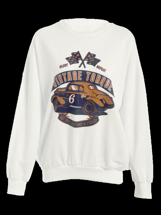 Drop Shoulder Sleeve Sweatshirt - WHITE S Mobile