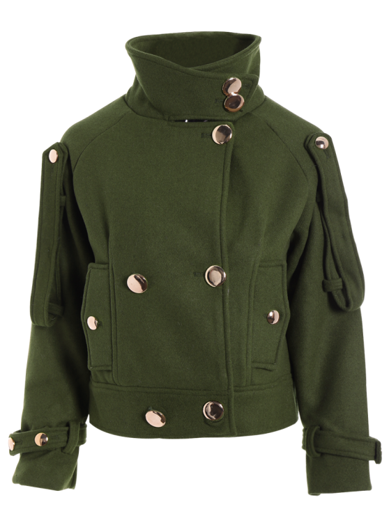 Cropped Wool Blend Bridge Coat - ARMY GREEN L Mobile